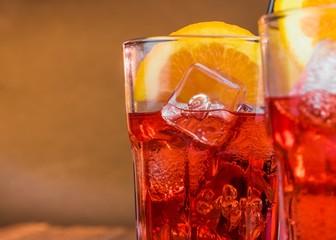 spritz aperitif aperol cocktail with two orange slices