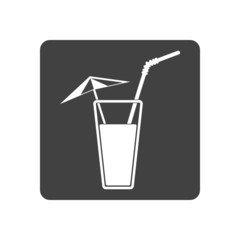 Vector illustration of alcohol drink icon. Cold summer cocktail
