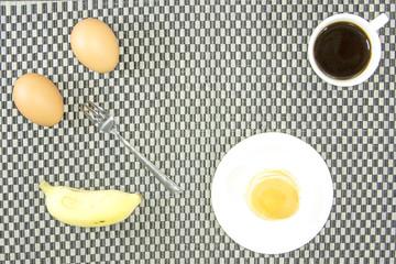 Breakfast clean food with  black coffee banana eggs and pancake
