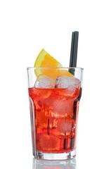 spritz aperitif aperol cocktail with orange slices on white