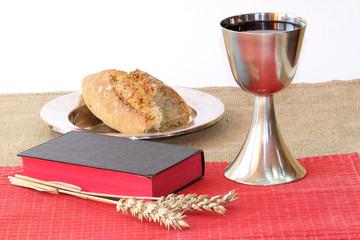Bread, grain and open Bible
