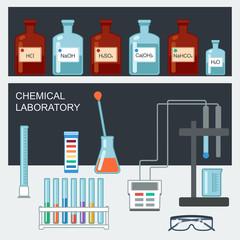 Chemical Laboratory. Flat design. Chemical glassware. Vector
