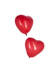 Heart Shaped Red Balloons on White Background