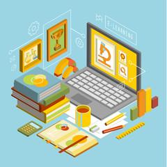 Vector Concept for Online Education. Flat 3d Isometric Design.