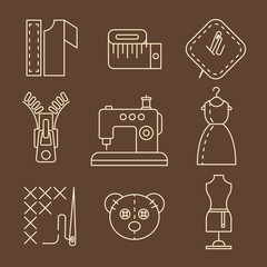 Vector Sewing Equipment and Needlework Icons