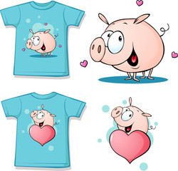 shirt with cute pig cartoon - vector illustration