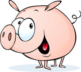 funny pig cartoon - vector illustration