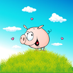 cute pig standing on green grass - vector cartoon