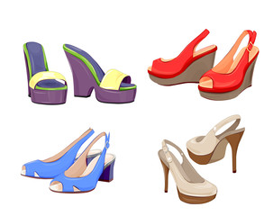 fashion collection of girls shoes.