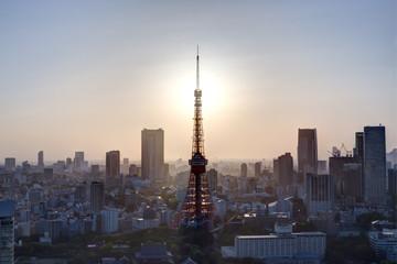 夕日の東京タワーと町並み