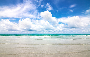 Sea and Blue sky with clouds in sunny day