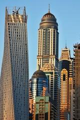Skyscrapers in Dubai Marina at sunset