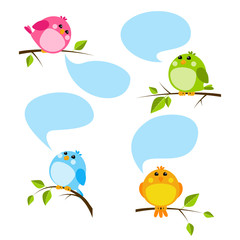 Set of cute birds with speech bubbles