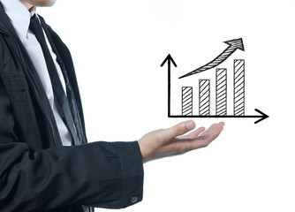 businessman with graph and arrow