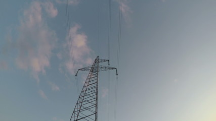 electricity high voltage tower .Timelapse 4k