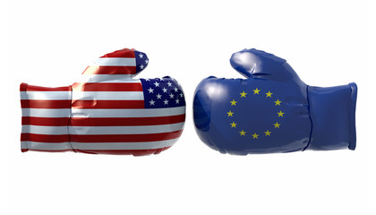 Boxing gloves with Usa and Euro flag