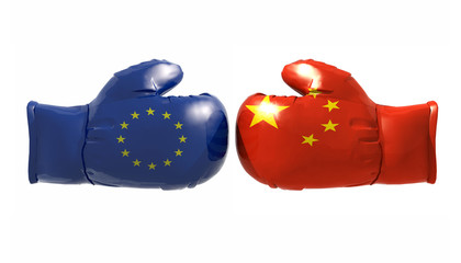 Boxing gloves with Euro and China flag