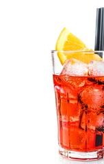 half spritz aperitif aperol cocktail glass with orange