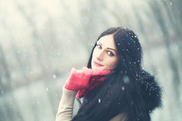 Winter Woman with Snow. Beauty Portrait Outdoor