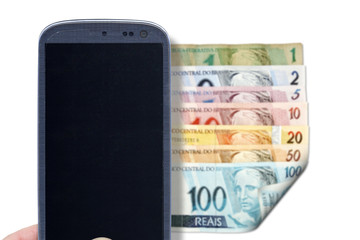 Smartphone and Brazilian bills - Front