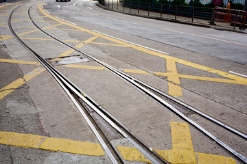 street railway with yellow street mark