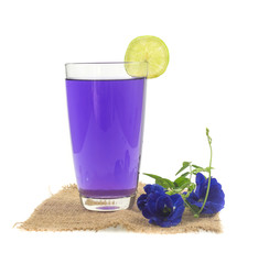 Glass of butterfly pea flower juice on white background