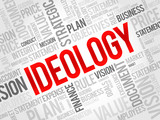 Ideology word cloud, business concept poster