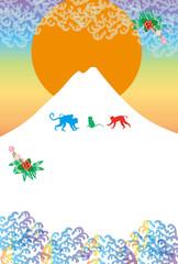 申年の猿の年賀状テンプレートの干支のサルのイラスト