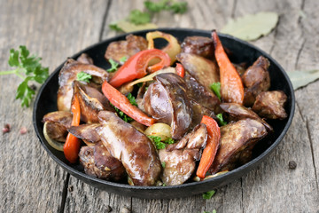 Grilled chicken liver in frying pan