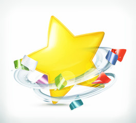 Party, star and confetti, vector icon