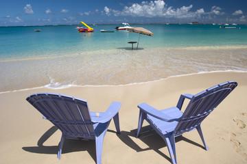 Relaxing on the beach, Saint Martin