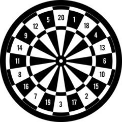 Darts target black & white, vector illustration