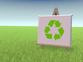 recycling Gras Wiese Himmel blau grün Staffelei