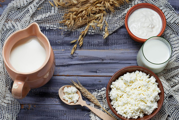 Dairy products: milk, cottage cheese, sour cream