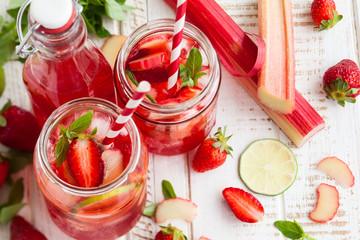 strawberry,lime and rhubarb lemonade