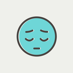 Tired face thin line icon