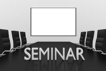 seminar logo standing on desk conference room whiteboard