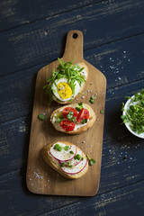 sandwiches with egg, radish and cherry tomatoes