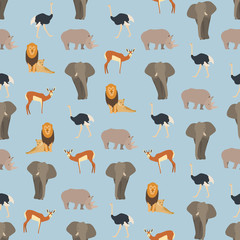 Seamless colorful background made of  animals of Africa in flat