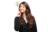 Beautiful business woman with idea light bulb above hand