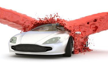 Rote Farbe wird von zwei Seiten über ein Auto geschüttet