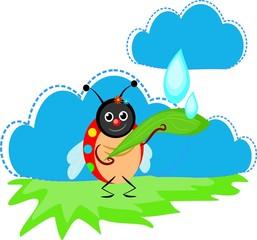 Ladybug catching rain