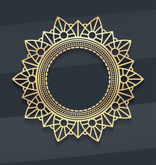 Gold lace decor — mandala with shadow on noble dark background.