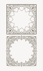 Pair of square page, unique coloring of the book, or greeting ca
