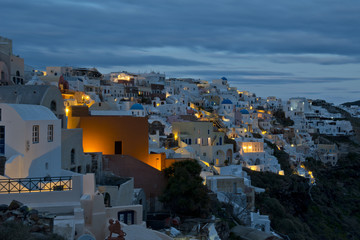 Oia's village on sunset