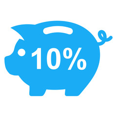 Icono texto 10% en hucha cerdito azul