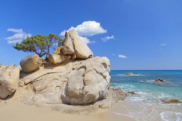 Granite rocks in the Sardinia coastline.Italy.