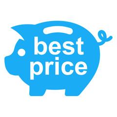Icono texto best price en hucha cerdito azul
