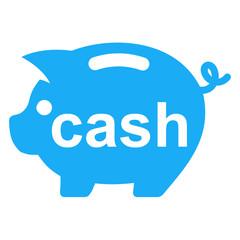 Icono texto cash en hucha cerdito azul
