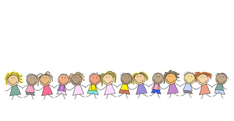 Kids in a row - group of children - illustration